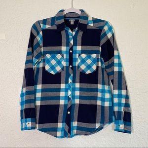 AERIE Blue Plaid Button Down Flannel Shirt Size XS